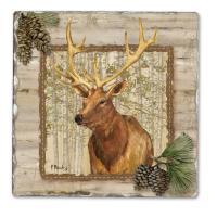 Counter Art Forest Trails Elk Single Tumbled Tile Coaster