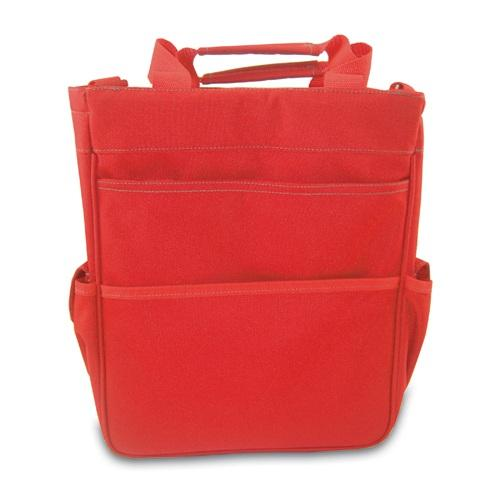 Picnic Time Activo Insulated Multi-Pocket Tote with Waterproof Lining and Polyster Shell, Red