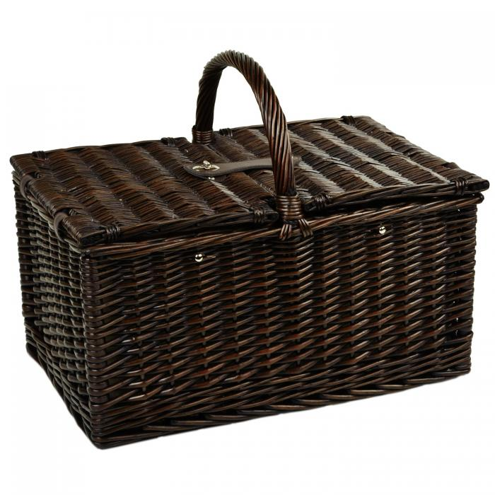 Picnic at Ascot Surrey Willow Picnic Basket with Service for 2 & Coffee Set - Diamond Orange