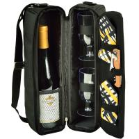 Picnic at Ascot Sunset Wine Tote for 2 with Glasses  -Black /Paris