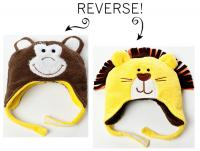 Luvali Convertibles Lion/Monkey Reversible Kid's Winter Hat, Large