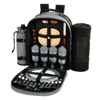 Picnic at Ascot Picnic Backpack with Removable Blanket for Four, Houndstooth