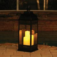 Smart Solar San Nicola Triple LED Candle Lantern, Bronze