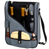 Picnic at Ascot Wine and Cheese Cooler Bag Equipped for 2  - Houndstooth