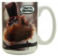 """Songbird Essentials Mug 15oz """"I Don't Do Mornings"""""""