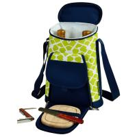 Picnic at Ascot 2 Bottle Insulated Wine Tote & Cheese Set - Trellis Green