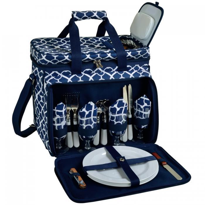 Picnic at Ascot Picnic Cooler for 4 - Trellis Blue