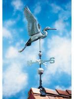 Copper Heron Weathervane - Verdigris