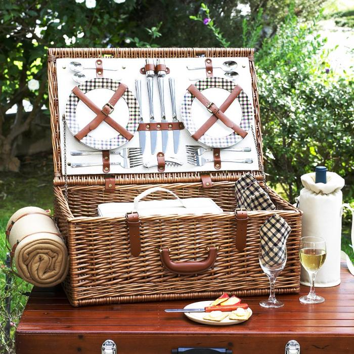 Picnic at Ascot Dorset English-Style Willow Picnic Basket with Service for 4 and Blanket - London Plaid