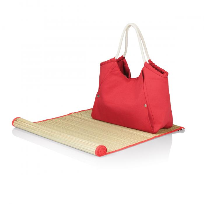 Picnic Time Cabo Beach Tote with Mat, Red