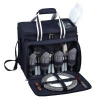 Picnic at Ascot Deluxe Picnic Cooler for Four - Navy/White