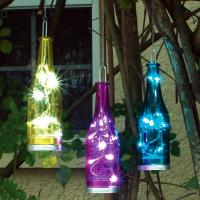 Smart Solar Fiesta Hanging Glass Bottles with LEDs 3 pack - Blue, Yellow, Magenta