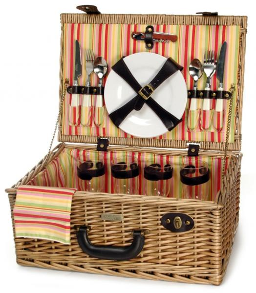 Picnic & Beyond Terazzo Casual Willow Picnic Basket for Four