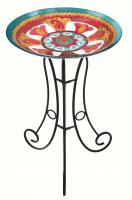 Evergreen Enterprises Glass Birdbath Set, Costa Catalonia