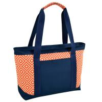 Picnic at Ascot  Large Insulated Cooler Bag - 24 Can Tote - Orange/Navy