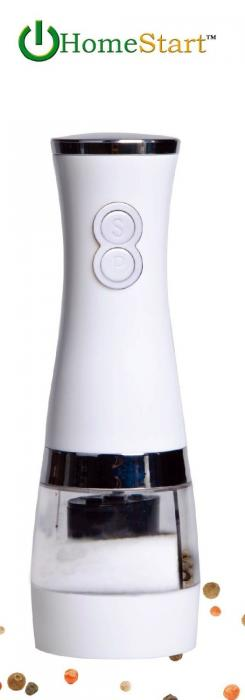 HomeStart 2 in 1 Electric Salt & Pepper Grinder Polished White