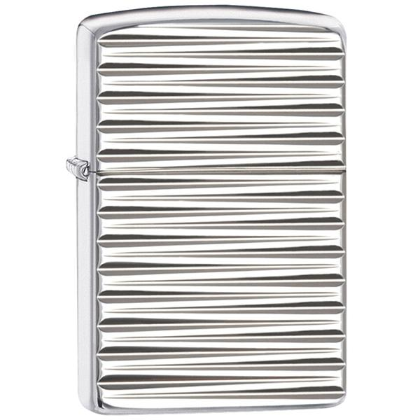 Zippo Armor Engine Turn, Silver, Horizontal Gold Striped Pattern