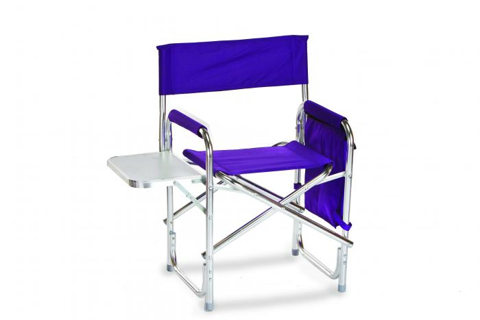 Picnic Plus Directors Sport Chair with Folding Side Table & Side Panel Pockets - Purple