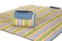 """Mega Mat Folded Picnic Blanket with Shoulder Strap - 48"""" x 60"""" (Sea Breeze Stripe)"""