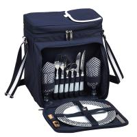 Picnic at Ascot Bold Picnic Cooler for 2, Navy/White