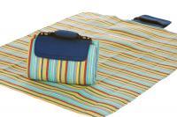 """Mega Mat Folded Picnic Blanket with Shoulder Strap - 68"""" x 82"""" (Blue Berry Stripe)"""