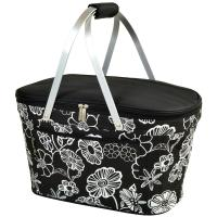 Picnic at Ascot Stylish Insulated Market Basket / Picnic Tote with Sewn in Aluminum Frame - Night Bloom