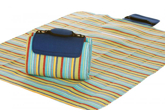 "Mega Mat Folded Picnic Blanket with Shoulder Strap - 68"" x 82"" (Blue Berry Stripe)"