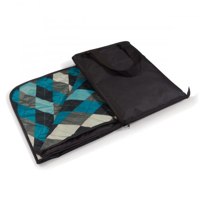Picnic Time Vista Outdoor Blanket - Black With Blue Argyle
