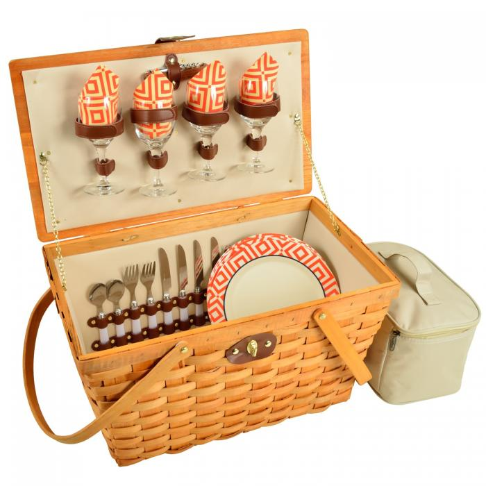 Picnic at Ascot Settler Traditional American Style Picnic Basket with Service for 4 - Diamond Orange