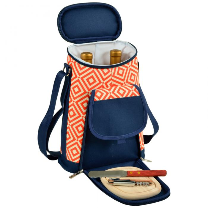 Picnic at Ascot Stylish 2 Bottle Insulated Wine Tote Bag with Cheese Board, Knife & Corkscrew - Orange/Navy