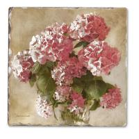 Counter Art Antique Hydrangea Single Tumbled Tile Coaster