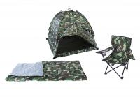 Pacific Play Tents Green Camo Set - Tent, Chair & Sleeping Bag