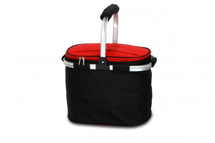 Picnic Plus Shelby Collapsible Market Cooler Tote - Black/Red