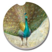 Counter Art Teal Peacock Car Coaster