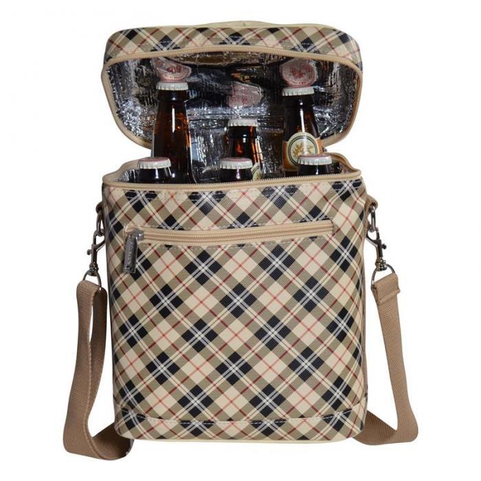 Primeware Beer Bag Tan Plaid 6 Bottle