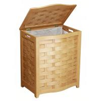 Ocean Star Design Natural Finished Bowed Front Veneer Laundry Wood Hamper w/Interior Bag BHV0100N