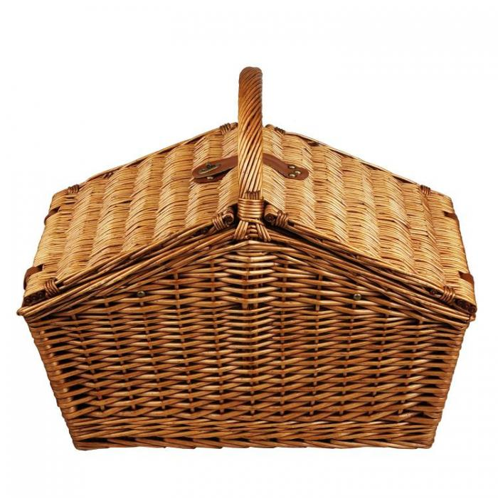 Picnic at Ascot Huntsman English-Style Willow Picnic Basket with Service for 4 - Santa Cruz