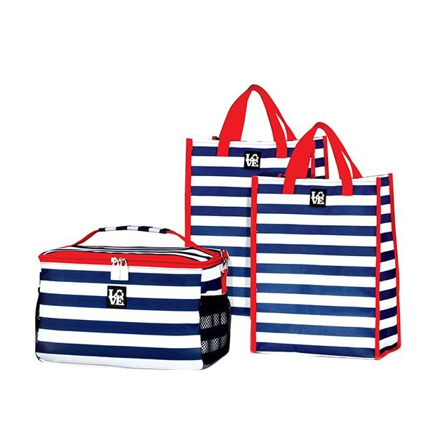 Love Bags Anchors Aweigh Chill Set, 3 in 1 Cooler/Tote Set