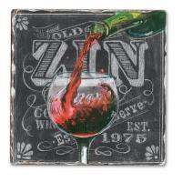Counter Art Chalkboard Wine-Zin Single Tumbled Tile Coaster