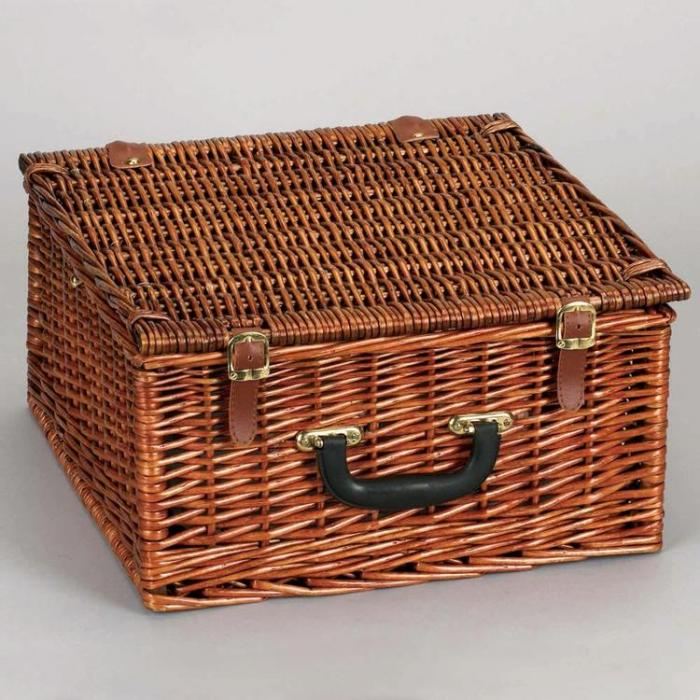 Lined Square Willow Picnic Basket with Service for 2