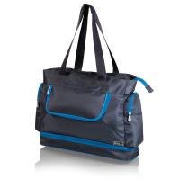 Picnic Time Beach Tote, Grey with Blue Trim