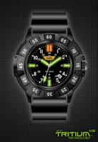 Uzi Protector Watch with Black Face and Rubber Strap