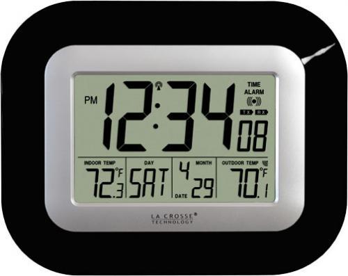 La Crosse Technology Atomic Digital Wall Clock w/ IN/OUT Temp - Black