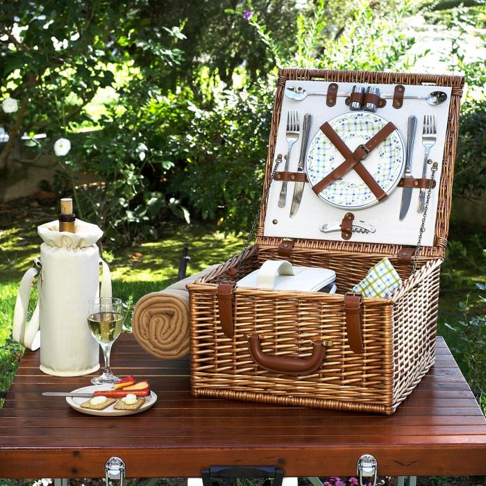 Picnic at Ascot Cheshire Picnic Basket For Two With Blanket- Gazebo