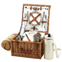 Picnic at Ascot Cheshire Basket For Two with Coffee Set & Blanket - London Plaid