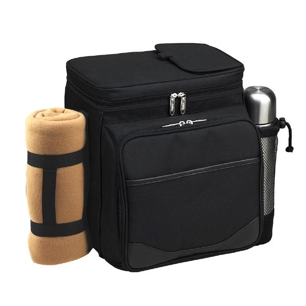 Picnic at Ascot Insulated Picnic Basket/Cooler Fully Equipped for 2 with Coffee Service and blanket - Black