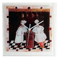 Glass Wall Clock with Two Chefs