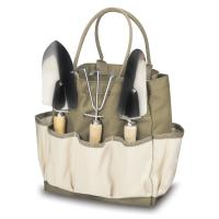 Picnic Time Large Garden Tote with Tools, Tan