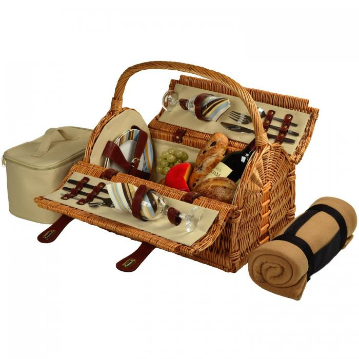 Picnic at Ascot Sussex Willow Picnic Basket with Service for 2 with Blanket - Santa Cruz