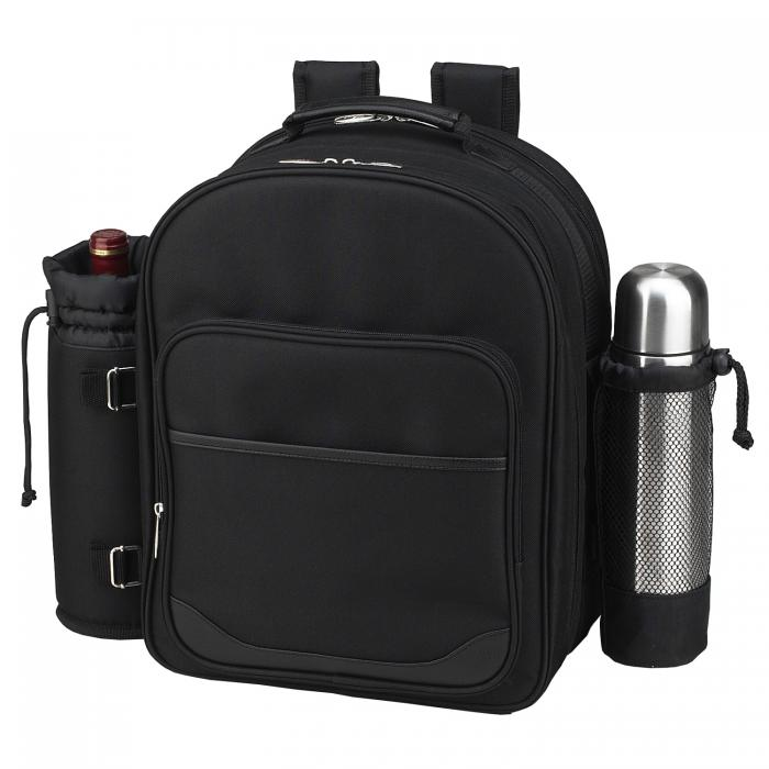 Picnic at Ascot Deluxe Equipped 2 Person Picnic & Coffee Backpack -Black/Paris